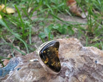 Baltic Amber Ring - Handmade & Silver