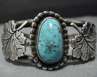 Museum Quality Vintage Native American Navajo Maple Leaf Sterling Silver Turquoise Bracelet Old