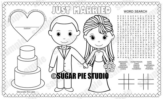 Instant download printable bride groom coloring page place mat altavistaventures Images
