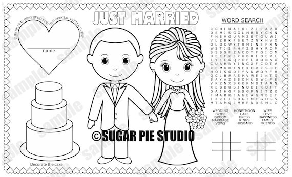 Instant download printable bride groom coloring page place mat altavistaventures