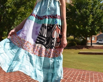 Boho Gypsy Maternity Maxi Sundress, Tie Dye Plus Size Beach Dress, Bohemian Hippie Summer Festival Dress, Handmade Patchwork Eco Clothing