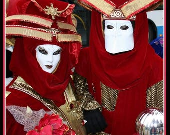Red velvet costume for Venice or a masquerade