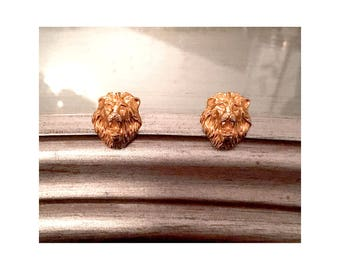 Goldtone Lion's Head Earrings