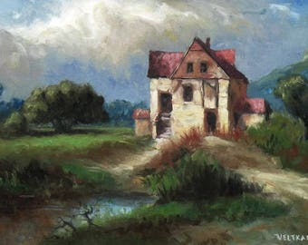 oil painting // landscape cottage at a riverbank // artistic work of art // hand-painted impressionism art