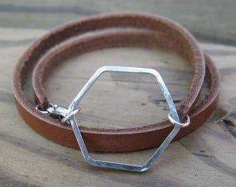 HEXAGON LEATHER BRACELET, sterling silver leather wrap bracelet simple bracelet stackable bracelet