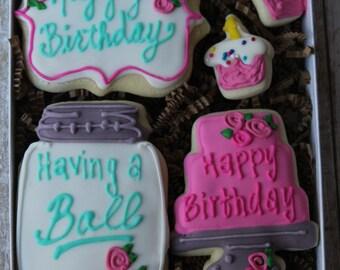 Birthday Cookie Gift box, Birthday Sugar Cookies, Birthday Gift, Birthday Gifts for Her,  Birthday Gifts for best Friend