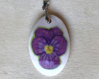 Pansy Painted Porcelain Pendant