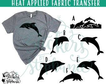 IRON ON v103 Dolphins Dolphin Heat Applied T-Shirt Fabric Transfer Decal *Specify Color Choice in Notes or BLACK Vinyl