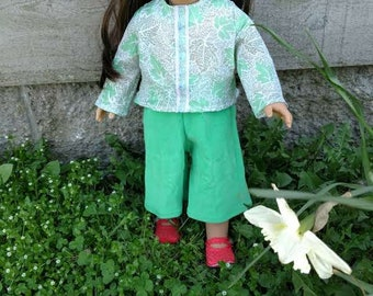 """Leafy Green Top and Matching Pants for 18"""" Doll"""