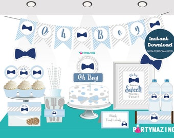 Printable Oh Boy Baby Shower Set, Little Man EXPRESS Party Package, Blue Bow Tie Party Decoration Kit, Instant Download  BBLM1 -D852