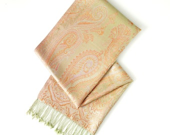 Lime and orange pure silk scarf