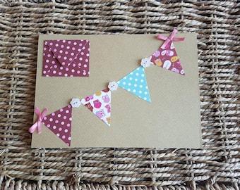 Handmade blank bunting greetings card