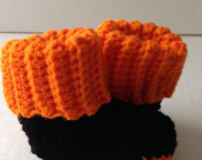 Baby Booties - Halloween Black and Orange - Crochet Handmade - Ready to Ship
