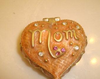 Mom Enamel Trinket Box with Rhinestones
