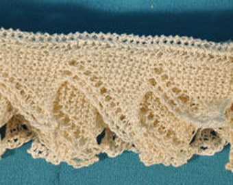 Vintage Knitted Lace White Scalloped Edge For Crafters Hand Made