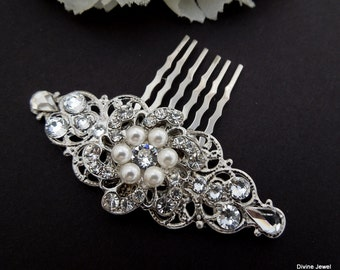 Pearl hair comb Bridal hair comb Pearl and Rhinestone Hair Comb Rhinestone Hair Comb Wedding hair accessories vintage style hair clip AMELIA