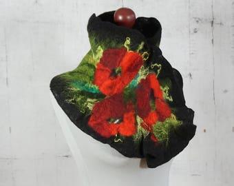 felted scarf, felted shawl, woolen scarf - poppy collar, felted collar- Feltmondo