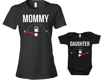 Mommy And Daughter Matching Outfits Gifts For New Mom Gift Ideas Mom And Baby Mommy And Me Clothing Fuel Empty Full Bodysuit - JM122-124