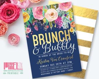 Brunch and Bubbly Bridal Shower Invitation, Bridal Brunch, Wedding Brunch, Bridesmaids Brunch, Gold Foil Invitation, Floral Striped Invite