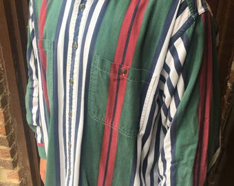 90s Green/White/Red/Blue Striped Oxford Shirt - Ralph Lauren Tommy Hilfiger Style - Large Mens