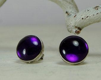 AAA Purple Amethyst Studs Earrings Purple Earrings Sterling Silver Posts