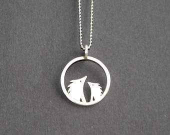 Silver circle hedgehog necklace