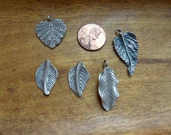 SALE * Sterling leaf pendants ~ front and back views