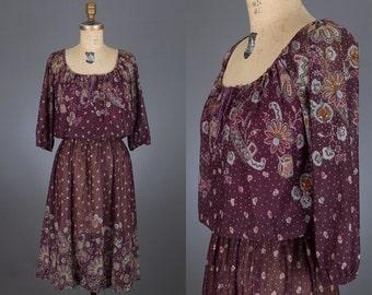 vintage 80s sheer floral print dress | eggplant color