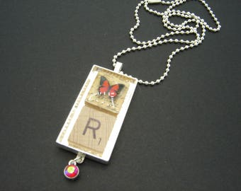 Red Butterfly Personalized Scrabble Tile Initial Pendant - free shipping