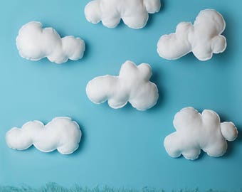 Hanging clouds, felt clouds, white clouds, Hanging cloud set