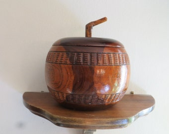 Vintage wooden apple storage lidded container jewelry