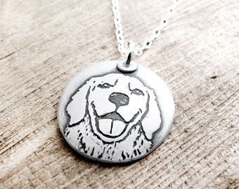 Golden Retriever necklace in silver, dog remembrance jewelry