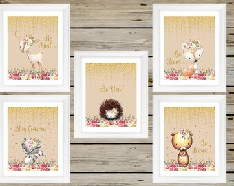 BEAUTIFUL Girl Nursery Woodland Wall Art, Girl Nursery Room Decor, Tribal Boho Woodland Baby Girl Wall Art, Instant Download