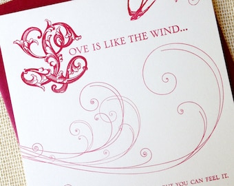 Letterpressed Valentines Day Card - Wind
