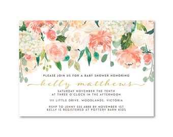 Elegant Baby Shower Floral glitter Invitation Spring
