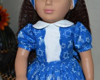 Hanukkah dress for 18 inch doll