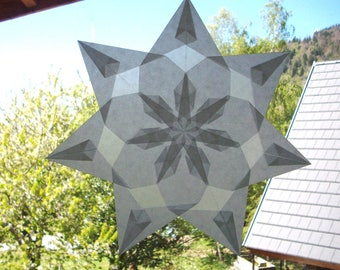 "Window star, model ""Asphodel"", folded paper, transparency, sensory awareness, Waldorf nature table."