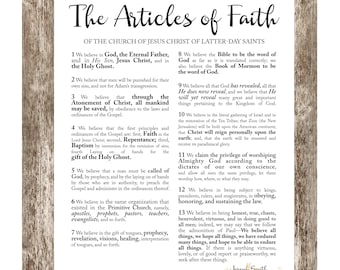 LDS Articles of Faith, Digital File 18x24, 16x20, 11x14, 8x10, LDS Printable