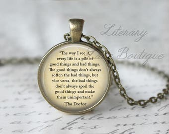 Doctor Who, 'Every Life' Dr Who Quote, Tardis, Time Lord, Gallifrey, Gallifreyan Necklace or Keyring, Keychain.