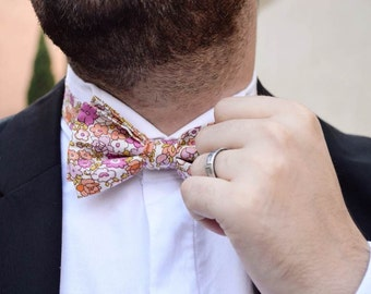 Adult size bow tie double patterned multicolored flowers