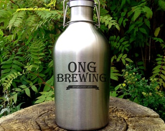 Custom Stainless Steel Beer Growler with personalized design, personalized growler, groomsmen, laser, home brew