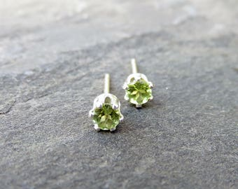 Tiny Peridot Studs in Silver or 14k Yellow Gold, 3mm Peridot Earrings, August Birthstone Earrings, Sterling Faceted Rounds Ready to Ship