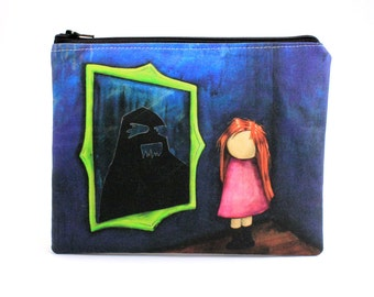 I Just Haven't Been Myself Lately - Zipper Pouch - Red Headed Girl with Mood Swings Looking in Mirror - Art by Marcia Furman