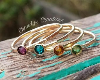 3mm Birthstone, Gold, Ring, Rings, Sterling Silver, Stackable, Midi, Layered, Name, Hammered, Beaded, Stack, Band, Spacer, Mixed Metal, Mom