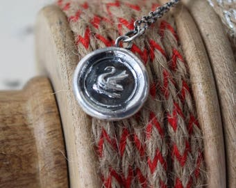Swan pendant, sterling silver wax letter seal impression, poet, musician, symbol of grace.