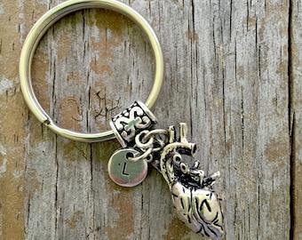 Heart Keychain/ Anatomical Heart Keyring/ I Heart You Key Chain/ Custom Initial Key Ring/ Doctor/  Realistic Heart Key chain/ Medical Heart