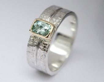 Green Beryl silver and gold gem set dress ring with unique wicker texture silver band