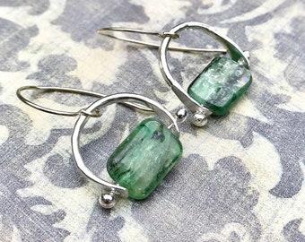Mini Zingara Earrings   Kyanite Earrings   Handmade Silver Earrings   Boho Drop Earrings   Green Kyanite Earrings