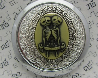 Compact Mirror Siamese Twins Skelton Protective Pouch Included
