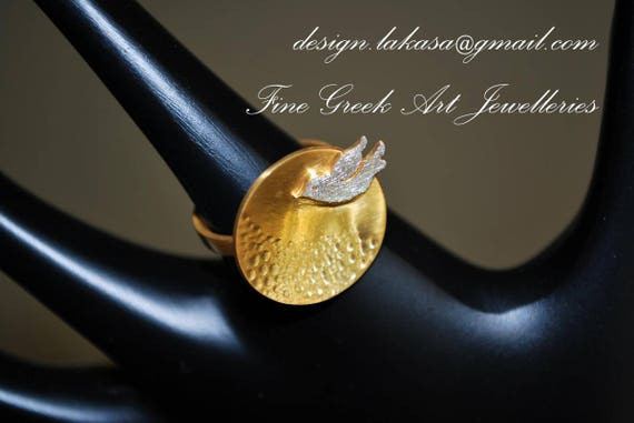 Dove Ring Sterling Silver Gold Jewelry Best Gift ideas for her Birthday Anniversary Woman Mother Girlfriend Greek Art Harmony & Peace Symbol